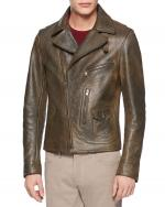 Vintage Calf Leather Biker Ceket